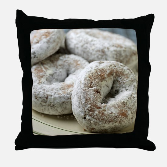 A plate of sugar donuts Throw Pillow