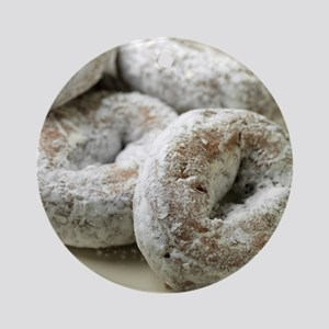 A plate of sugar donuts Round Ornament