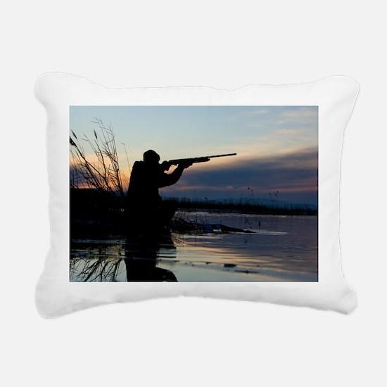 Man duck hunting at dawn Rectangular Canvas Pillow