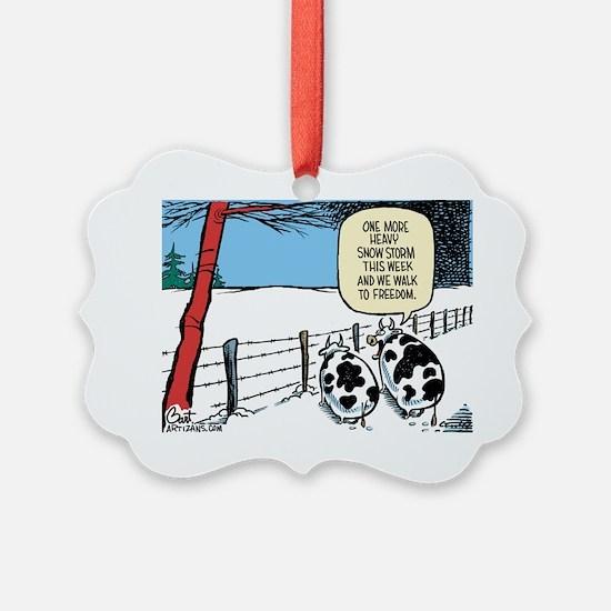 Snowbound Cattle Ornament