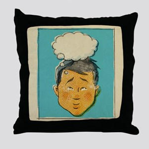 A retro style comic book portrait of  Throw Pillow