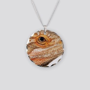 Bearded dragon close up Necklace Circle Charm