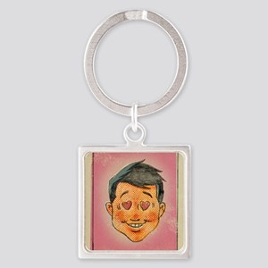 Illustration of a man with hearts  Square Keychain