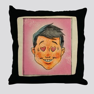 Illustration of a man with hearts in  Throw Pillow