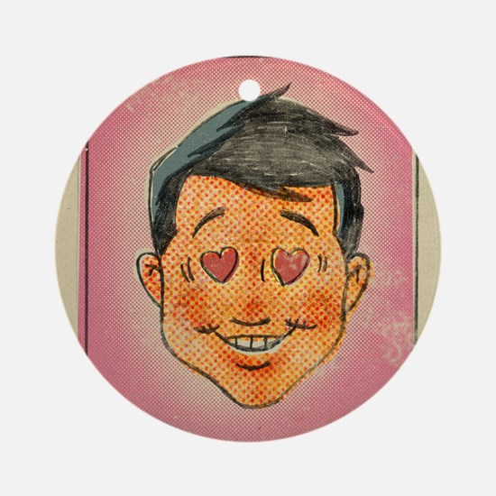 Illustration of a man with hearts i Round Ornament