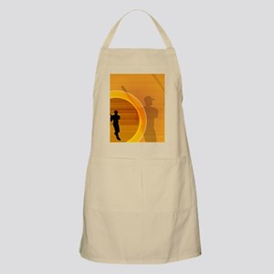Baseball player about to swing, silhouette Apron