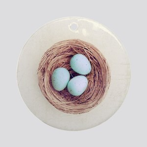 Bird nest with blue baby robins egg Round Ornament