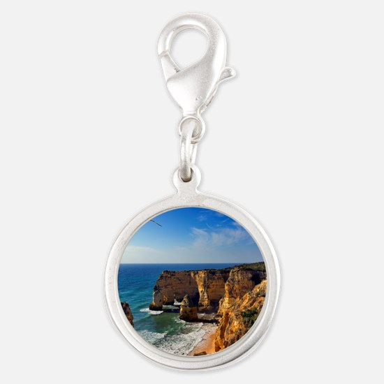 Bird in flight at seascape of  Silver Round Charm