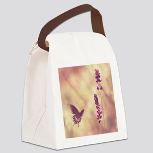 Black swallowtail butterfly flyin Canvas Lunch Bag
