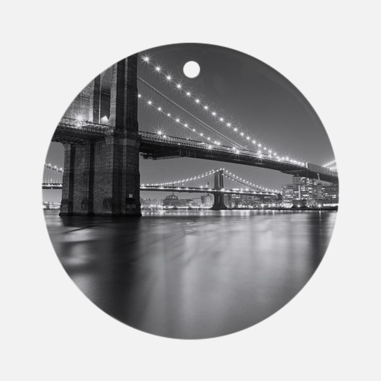 Brooklyn Bridge and Manhattan Bridg Round Ornament