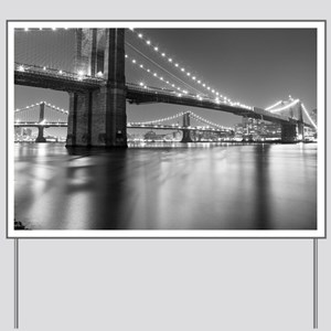 Brooklyn Bridge and Manhattan Bridge at  Yard Sign