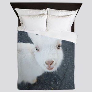 Curious white goat Queen Duvet