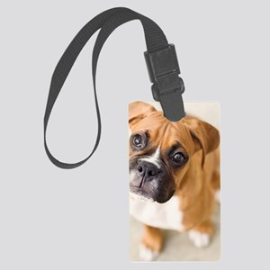Boxer puppy looking up at camera Large Luggage Tag