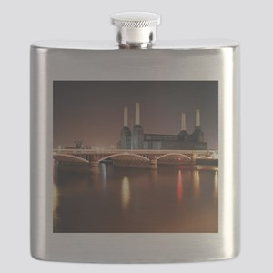 Battersea Power Station at night with light  Flask