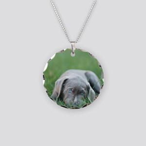 Blue eyed puppy resting on g Necklace Circle Charm