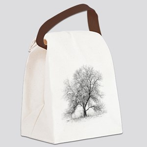 A black and white image of an old Canvas Lunch Bag