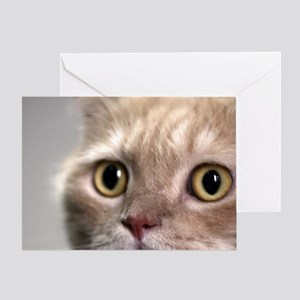 Cat head with watchful eyes with cle Greeting Card