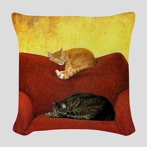 Cats sleeping on sofa. Woven Throw Pillow