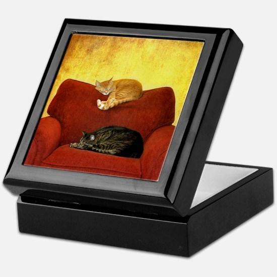 Cats sleeping on sofa. Keepsake Box