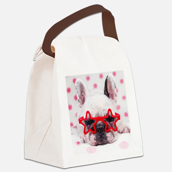 Bulldog with star glasses, white  Canvas Lunch Bag