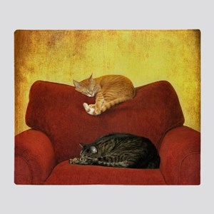 Cats sleeping on sofa. Throw Blanket