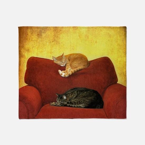 Cats sleeping on sofa. Throw Blanket