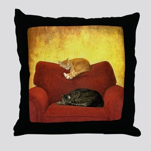 Cats sleeping on sofa. Throw Pillow