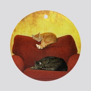 Cats sleeping on sofa. Round Ornament
