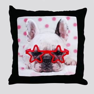 Bulldog with star glasses, white and  Throw Pillow