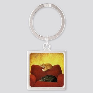 Cats sleeping on sofa. Square Keychain