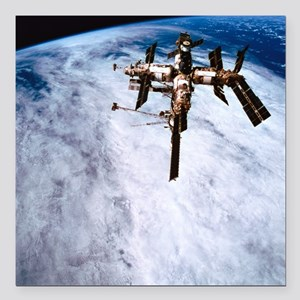 "A space station in orbit Square Car Magnet 3"" x 3"""