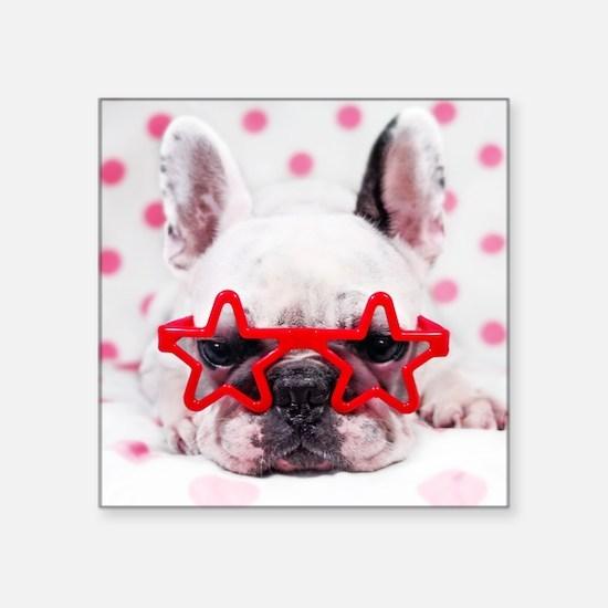 """Bulldog with star glasses,  Square Sticker 3"""" x 3"""""""