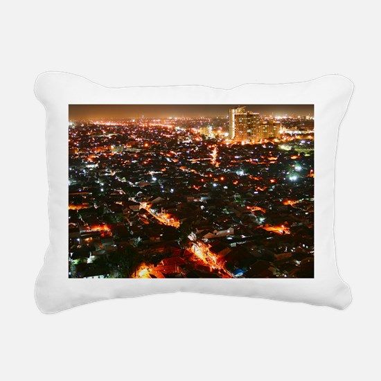 City of Jakarta at night Rectangular Canvas Pillow
