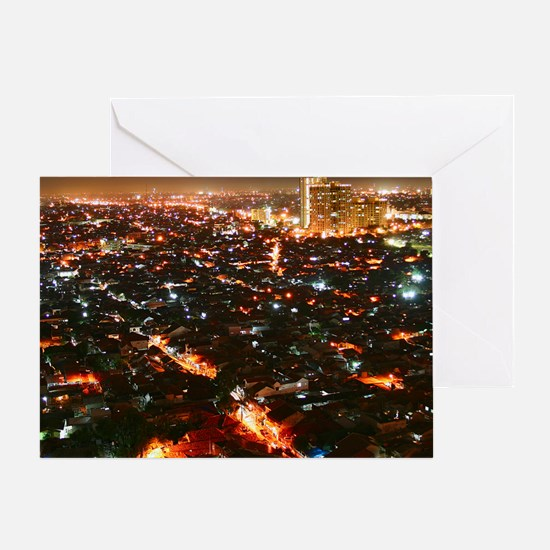 City of Jakarta at night, Malaysia Greeting Card