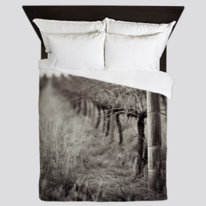 Bare grapevines and long grass in vine Queen Duvet