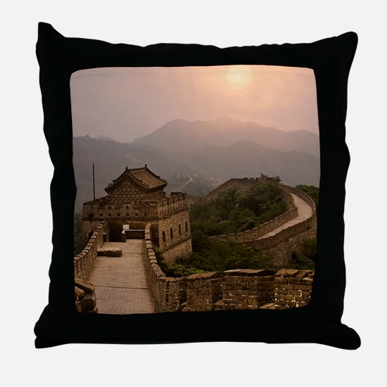 Aerial view of the Great Wall of Chin Throw Pillow