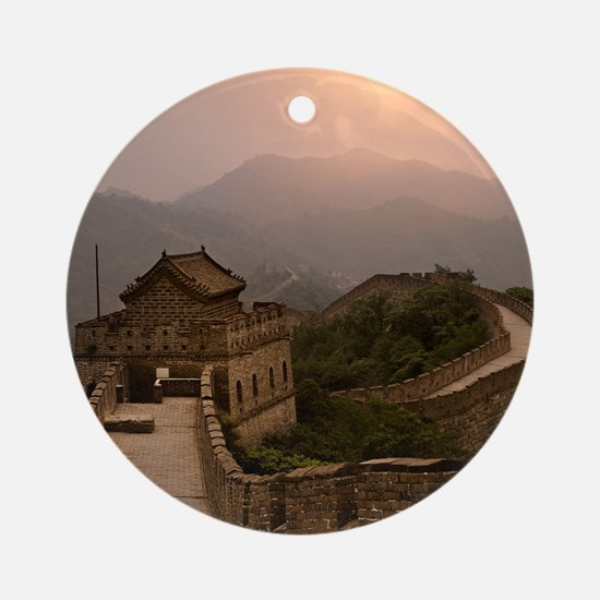 Aerial view of the Great Wall of Ch Round Ornament