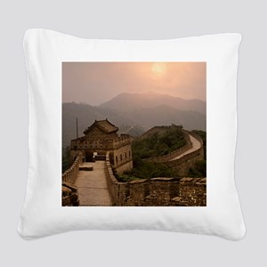 Aerial view of the Great Wall Square Canvas Pillow