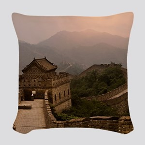 Aerial view of the Great Wall  Woven Throw Pillow