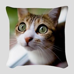 Cat green big eyes. Woven Throw Pillow