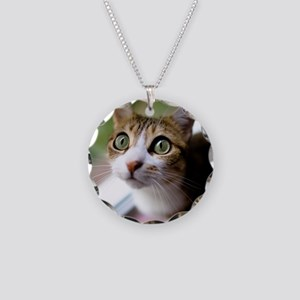 Cat green big eyes. Necklace Circle Charm