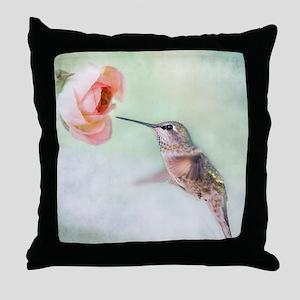 Close up of hummingbird in-flight and Throw Pillow