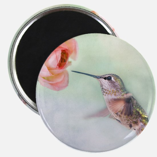 Close up of hummingbird in-flight and pink  Magnet