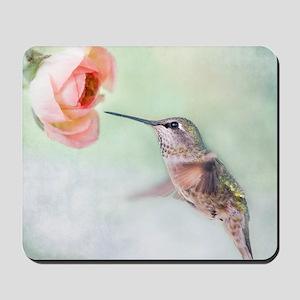 Close up of hummingbird in-flight and pi Mousepad