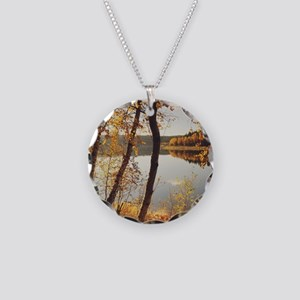 Birch trees and reflected au Necklace Circle Charm