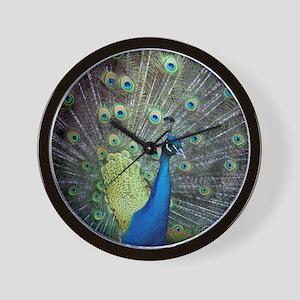 Close up of peacock showing its beautif Wall Clock