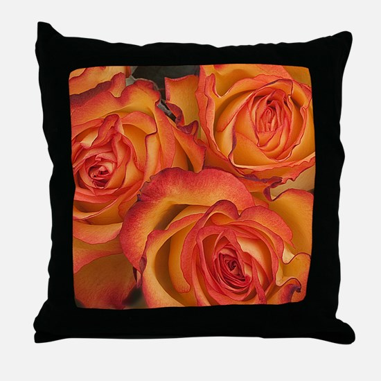 Bunch of orange roses at Sainsburys L Throw Pillow