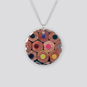 Colored pencils. Necklace Circle Charm