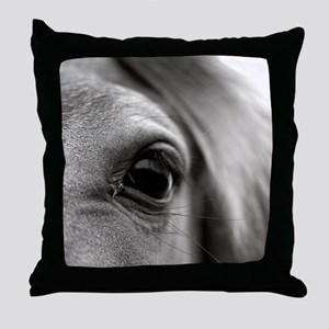 Black and white close up of eye lashe Throw Pillow