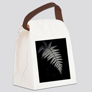 Black and white image of fern fro Canvas Lunch Bag